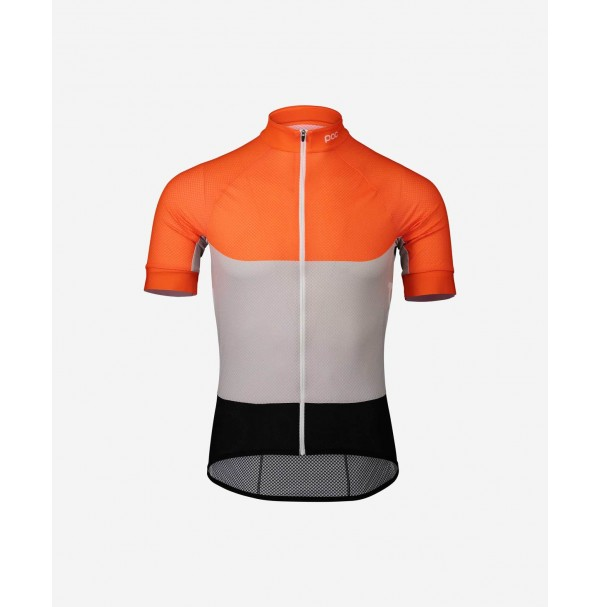 POC cyklistický dres essential road light jersey granite grey/zink orange