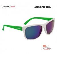 ALPINA Okuliare HEINY bielo-zelené sklá CERAMIC mirror zelené S3