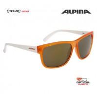 ALPINA Okuliare HEINY transparentné oranžové-biele sklá CERAMIC mirror oranžové S3