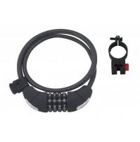 FORCE zámok LUX špirálový kódový 85cm / 10mm + držiak, čierny
