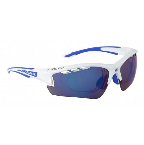 FORCE okuliare RIDE PRO biele diop. klip, modré laser sklá