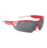 FORCE okuliare RACE PRO červeno-biele, čierne laser sklá