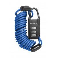 FORCE zámok SMALL špirálový kódový 120cm / 3mm, modrý