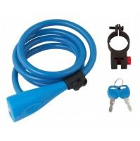 FORCE zámok špirálový,silikonový 120cm / 10mm + držiak, modrý