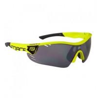 FORCE Okuliare RACE PRO fluo, čierne laser sklá žlté