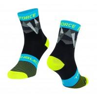FORCE ponožky TRIANGLE, čierno-fluo-modré