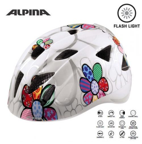 ALPINA Cyklistická prilba Ximo Flash biela-kvietky