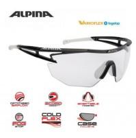 ALPINA Cyklistické okuliare EYE-5 SHIELD VL+ čierno-biele sklá: Varioflex čierne S1-3 fogstop