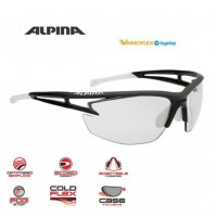 ALPINA Cyklistické okuliare EYE-5 HR VL+ čierno matné-biele sklá: Varioflex black S1-3 fogstop