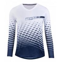 FORCE dres MTB ANGLE dámsky dlhý rukáv, bielo-modrý