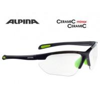 ALPINA Cyklistické okuliare JALIX čierna mat-zelené sklá: Cearamic mirror čire S1