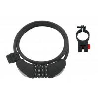 FORCE zámok LUX špirálový, kódový, 120cm / 8mm + držiak, čierny