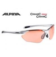 ALPINA Cyklistické okuliare JALIX strieborno-čierne sklá: Cearamic mirror oranž S2