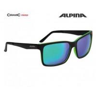ALPINA Okuliare DON HUGO čierno-zelené matné sklá CERAMIC mirror zelené S3