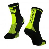 Ponožky FORCE LONG čierno-fluo
