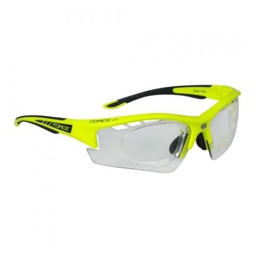 Okuliare FORCE RIDE PRO fluo, dioptrická klip, fotochromatické sklá