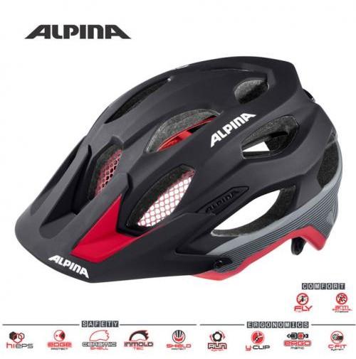Cyklistická prilba ALPINA Carapax čierno-červeno-tmavostrieborná